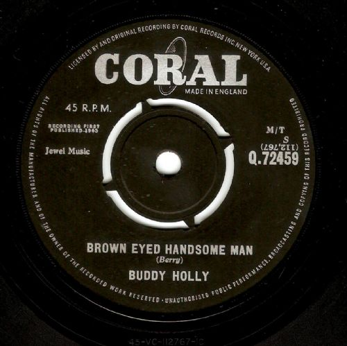 BUDDY HOLLY Brown Eyed Handsome Man Vinyl Record 7 Inch Coral 1963